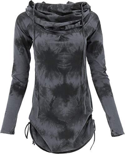 Guru-Shop Camiseta de manga larga, minivestido con capucha ancha, para mujer, algodón, jersey, manga larga y sudaderas alternativas Gris/Batik Small/Medium