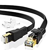 Cat 8 Ethernet Cable, Gigabit High Speed Gaming Shielded Network Cord, 10 FT Short Flat Cat8 LAN Wire with Clips and Gold Plated RJ45 Connector for PS5, PS4, Xbox, Router, Streaming, Outdoor&Indoor