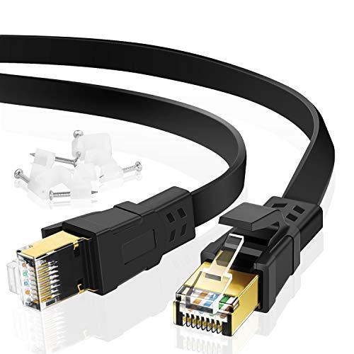 Câble Ethernet Cat 8 3m, Câble réseau Cat.8 LAN Câble réseau Plat avec Pinces, connecteur RJ45 plaqué Or Câble LAN d'ordinateur Compatible pour Le Jeu, routeur, Modem, Noir