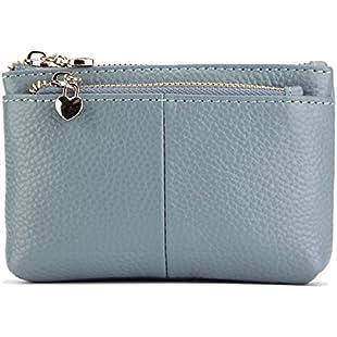 Women Genuine Leather Coin Purse Key Ring Triple Zipper Mini Card Case Wallet change purse (Blue)
