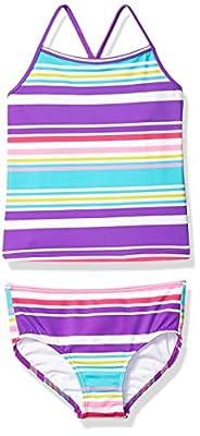 Amazon Brand - Spotted Zebra Kids Girls Tankini Rashguard Swimsuit Sets, Purple Multi Stripe, Medium