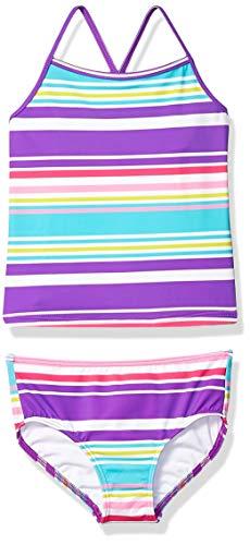 Amazon Brand - Spotted Zebra Toddler Girls Tankini Rashguard Swimsuit Sets, Purple Multi Stripe, 3T
