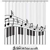 Instrumento Musical de Nota de Piano Cortina de Ducha Cortina de Baño de Tela,Antimoho,Lavable,Impermeable y Opaco con 12 Anillas 180x180cm/50x80cm