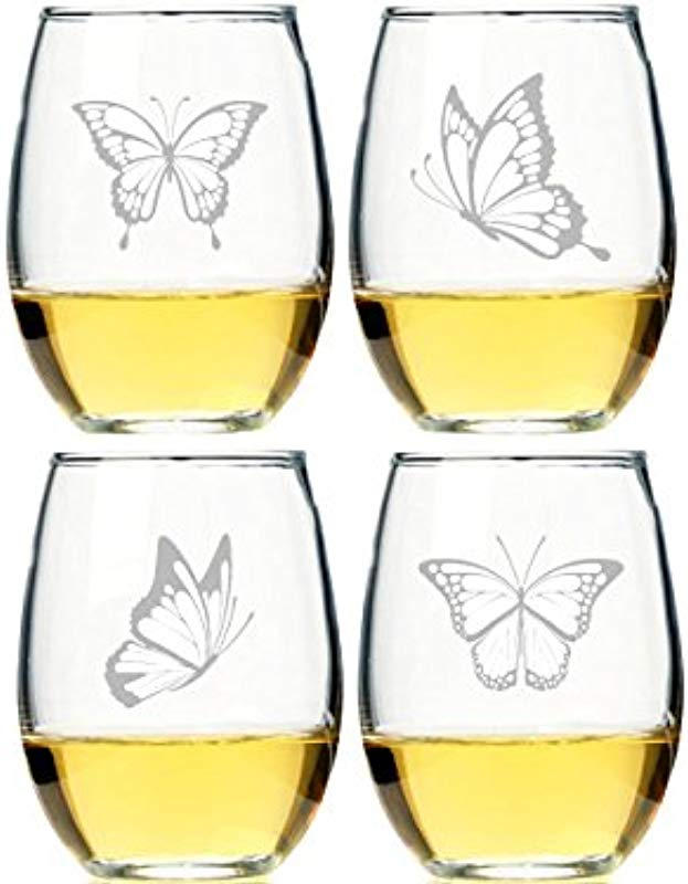 Chloe And Madison Butterflies Stemless Wine Glass Set Of 4