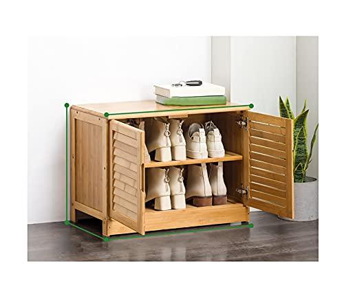 Material del zapatero Taburete para cambiar zapatos saludable Almacenamiento de gran capacidad Madera maciza Extremo de la cama con asiento Gabinete de zapatos largo Diseño de obturador(Color:two doo