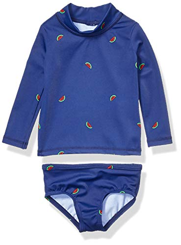Amazon Essentials UPF 50+ Baby Girls 2-Piece Long-Sleeve Rash Guard Set, Watermelons, 6M