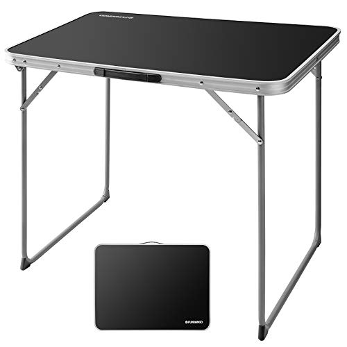 FUNDANGO Folding Camping Table Lightweight Desk Portable Handle Reinforced Steel Frame Easy to Carry and Clean Great for Outdoor Picnic Beach Backyard Black