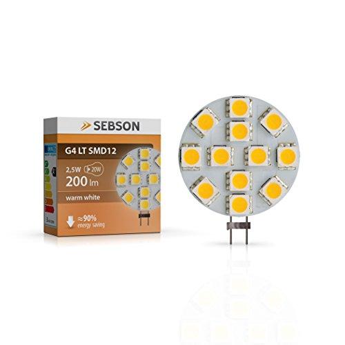 SEBSON® Ampoule LED 2.5W (remplace 20W) - Culot G4 - Angle du faisceau 110° - Blanc chaud - 200lm