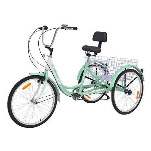 MOPHOTO 24' 7 Speed 3-Wheel Adult Tricycle Trike Cruiser Bike, Cargo Trike...