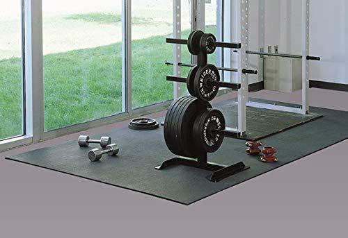 """American Floor Mats Vulcanized Rubber Gym Flooring Equipment Mats Black 3/8"""" Thick - 4"""