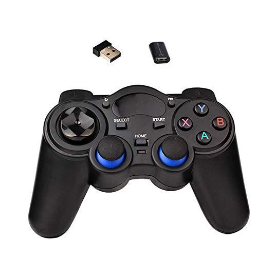 2.4G Gamepad inalámbrico Controlador de juegos Android Joystick Joypad con adaptador convertidor Micro USB OTG para Smart TV PC PS3 Teléfonos negro