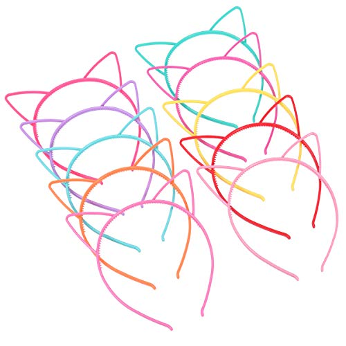 diademas con orejas de gato de plástico, disfraces o fiestas, mujeres y niñas (10pcs)