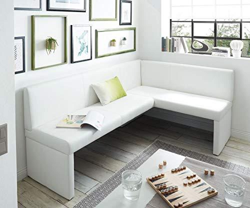 Generisch Eckbank Kunstleder Esszimmerbank Sitzbank Sitzecke Küchen-Bank (200x140, weiß)