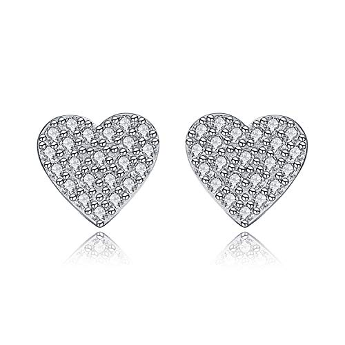 Micory Heart Earrings 925 Sterling Silver with 3A Cubic Zirconia for Women