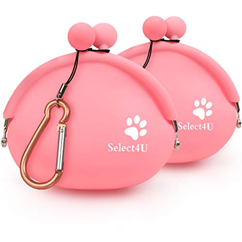 Silicone Dog Treat Pouch Reusable Dog Training Pouch-Bag, Small Pet Snack Pouch/Coin Purse/Key Case, with Waist Carabiner, Set of 2