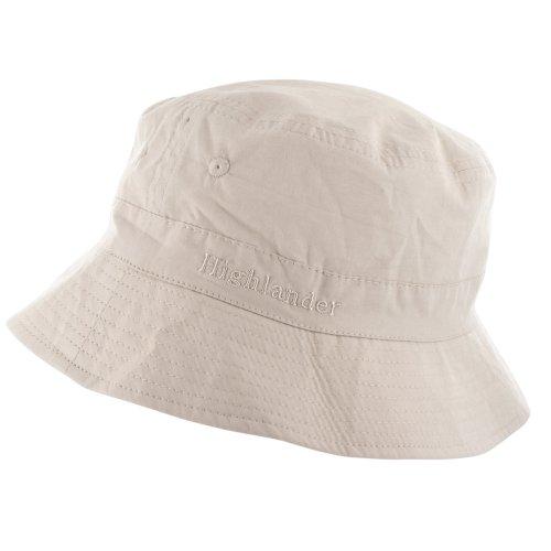 Highlander Unisex Premium Baumwoll Eimer Sonnenhut (Weiß, L)