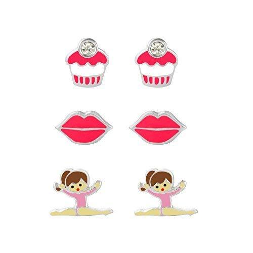 Set di tre orecchini a forma di ballerina in argento Sterling con borchie smaltate, labbra, cupcake per bambini, confezione regalo