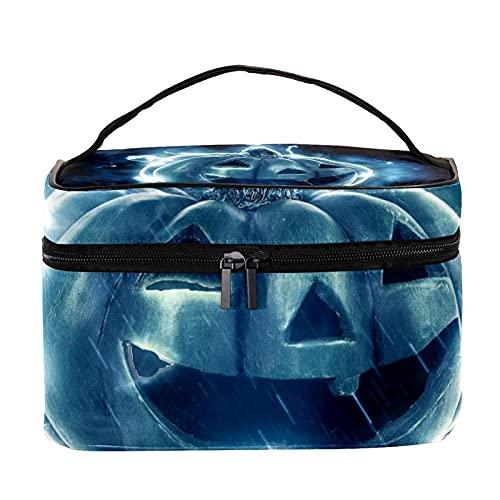 Bolsas de maquillaje para mujeres y nis Estuche organizador de cosmicos de mano bolsa portil de viaje neceser Halloween ventana calabaza linterna, Multicolor 6 Neceser