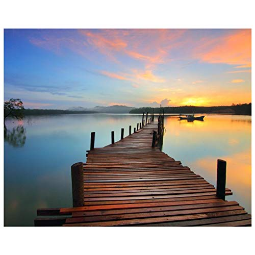 Stressfreies Malen nach Zahlen Sonnenuntergang Pusteblume Malerei für Erwachsene Anfänger Frameless Sonnenuntergang Seaside Bridge