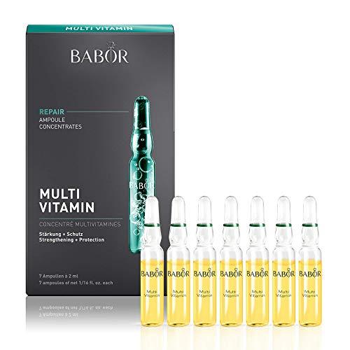 BABOR AMPOULE CONCENTRATES Multi Vitamin, Gesichtspflege für trockene Haut, mit Vitamin E, A & Biotin, unterstützt die Hautbarriere, weiche Haut, 7 x 2 ml