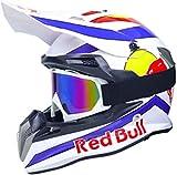 Casco Motocross,Casco de Cross Red Bull Casco Integral Moto Protección Cabeza Cascos,ECE Homologado Off-Road Enduro Downhill Racing Casco ATV MTB BMX Cascos de Moto B,XL