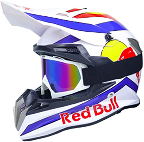 Casco Motocross,Casco de Cross Red Bull Casco Integral Moto Protección Cabeza Cascos,ECE Homologado Off-Road Enduro Downhill Racing Casco ATV MTB BMX Cascos de Moto B,XL