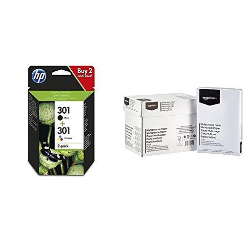 HP 301 N9J72AE 2-pack Nero + Tricromia per Stampanti a Getto di Inchiostro, HP ENVY 4500, 5530 & Amazon Basics Carta da stampa multiuso A4 80gsm, 5x500 fogli, bianco