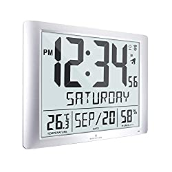 Marathon Super Jumbo Atomic Full Calendar Wall Clock, 7 Time Zones, Indoor Temperature and Humidity. Extra Large 20 Inch Display - Batteries Included - CL030061-FD-GG (Graphite Grey)