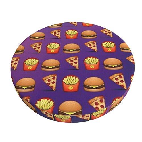 Pizza Hamburguesas Patatas Fritas Barra Redonda Funda de cojín para Silla Funda de Asiento Suave Antideslizante Protector Elástico 12in ~ 14in