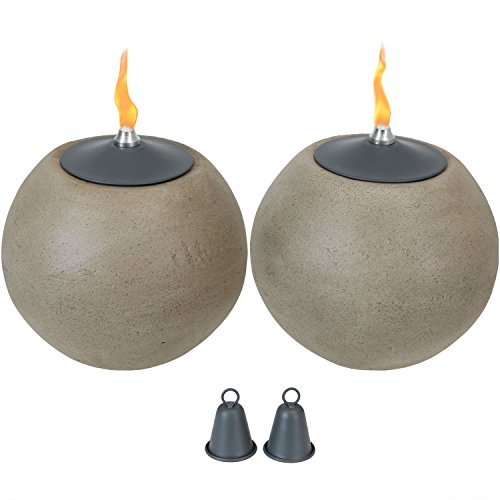 Sunnydaze Round Ball Tabletop Torch, Outdoor Patio Citronella Table Torches, Stone-Look, Set of 2, 7-Inch Diameter