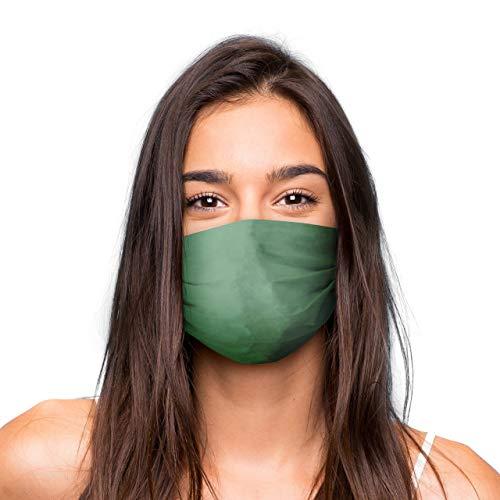 Mund Nasen Maske »GRÜN« waschbar | Wiederverwendbare Gesichtsmaske | Community-Maske in Universalgröße | Alltagsmaske handgefertigt in der EU | in unterschiedlichen Farben, Designs und Motiven