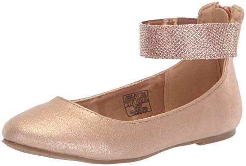 NINE WEST Girls' FLOYCEE Ballet Flat, Rose Gold Shimmer, M04 M US Toddler