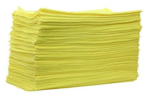 Lot de 50 Clea actionpro Ducts Micro professionnel tous usages Jaune (40 x 40 cm) – Chiffon microfibre pour la préparation des voiture véhicule Traitement
