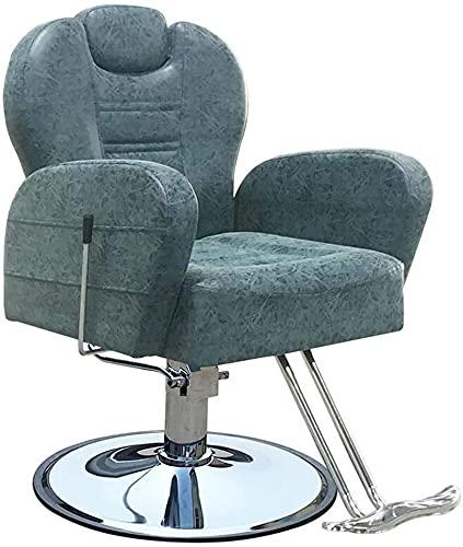 Silla de salón de estilo clásico Silla de peluquería Silla de salón, silla de peluquería, eleval hidráulico 47-58 cm, reclinable giratorio y inclinado, salón de belleza y equipo de peluquería, blanco