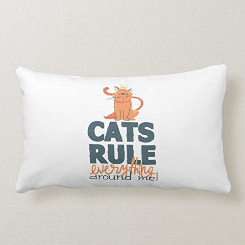 Christmas Lumbar Pillow Covers, Cats Rule Accent Pillow Cushion Cover Autumn Halloween Thanksgiving Day Pillow Case 30x50 cm for Sofa Couch Decoration