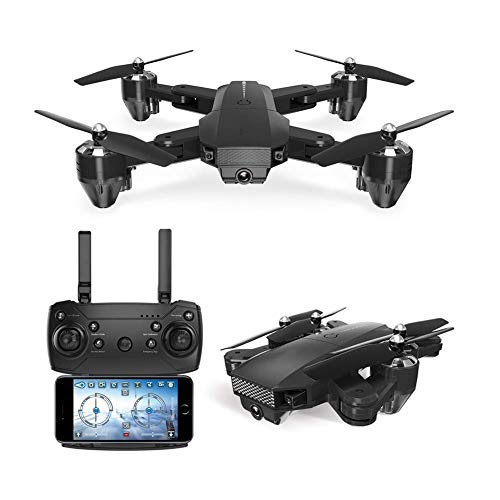Nuokix Höhenschießen RC Quadcopter Wifi FPV Drone, faltbar mit 720P HD-Kamera for Erwachsene, Mobiles-Flugzeug-Spielzeug for Anfänger mit Gravity Steuerung, Bildverfolgung, individuell gestaltete Flig