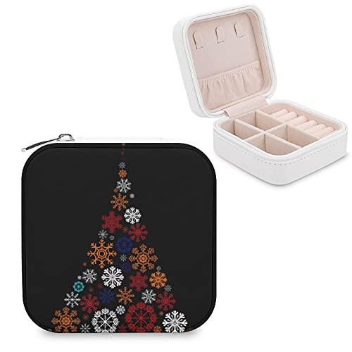Organizador de joyas de viaje para niñas, mujeres, Navidad, copos de nieve, árbol, negro, portátil, para joyas, anillos, pendientes, collares