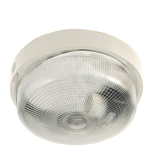 Velamp BIGBOB Applique a Parete/plafoniera Tonda 22cm. in plastica + Vetro E27 Max 60W. IP44: installabile all'Interno o all'Esterno. 60 W, Bianco
