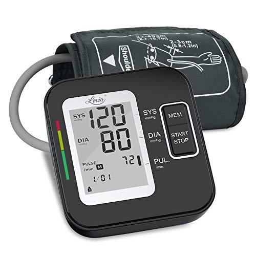 Misuratore Pressione Sanguigna da Braccio - Lovia Sfigmomanometro Digitale Elettronico, Misuratore Pressione Arteriosa con Grande Schermo LCD, 2×120 Memoria, Bracciale 22-40 cm