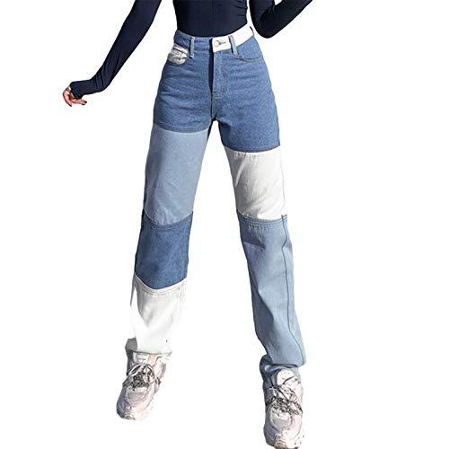 Damen Y2K Style Jeans mit hoher Taille, gerade Jeanshose mit weitem Bein, herzbedruckte, lose Vintage-Hose (Spleißen-Blau + Weiß, L)