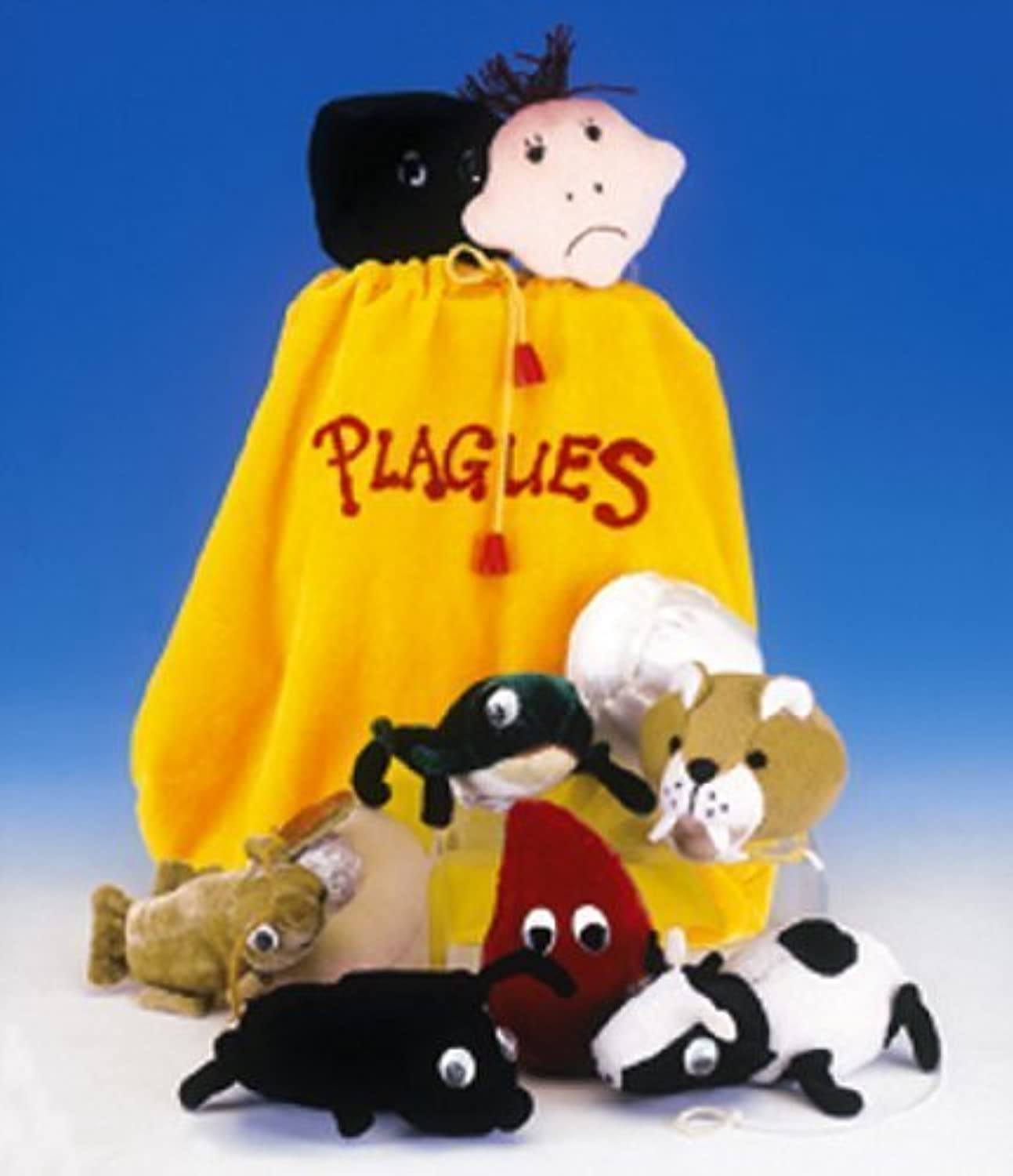 Adorable Set of Ten Plush Passover Plagues Representations, with Convenient Carrying Drawstring Bag by copa