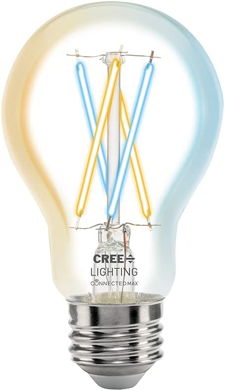 Cree Lighting Connected Max Smart LED Vintage Glass Filament Bulb A19 60W Tunable White, Works with Alexa and Google Home, No Hub Required, Bluetooth + WiFi, 1pk (CMA19-60W-AL-9TW-GL)