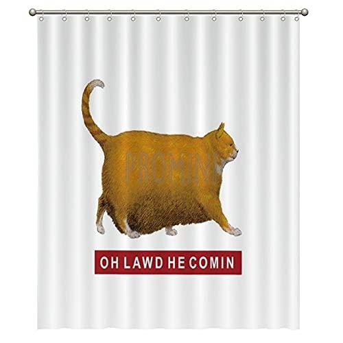 Promini OH Lawd HE Comin Meme Badewannen-Duschvorhang, waschbar, mit Haken, 150 x 180 cm, Polyester