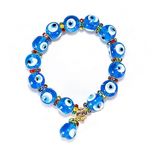 YFZCLYZAXET Pulseras Brazalete Joyería Mujer Pulsera De Cuentas De Cristal Azul con Cuentas Redondas Y Azules, Joyería Clásica Simple para Hombres Y Mujeres