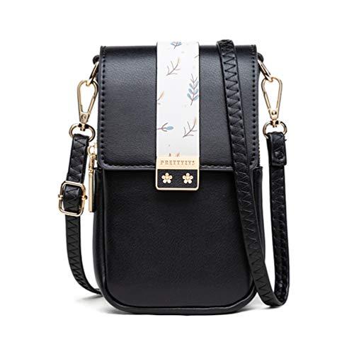 Fanshu Bolso de hombro multifunción para mujer con bolsillo para teléfono móvil, bolsa compacta con cremallera