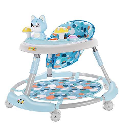 Baby Walkers Andadores para bebés, 6-18 Meses El antivuelco Plegable para bebés se Puede sentar y presionar para los niños pequeños Walker previene el Rollo de Carro multifunción (Color : Azul)