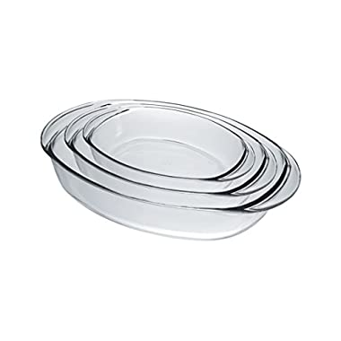 Duralex 9058AS03 Oven Chef Glass Oval Baking Dishes/Roasters Set of 3