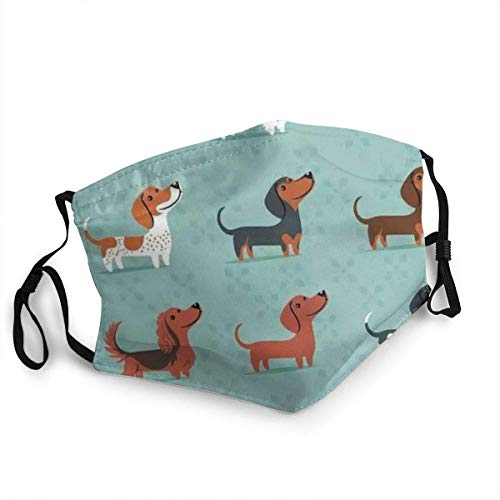 Sausage Dog Dachshund Face Masks Washable Reusable Safety Masks Protection from Dust Pollen Pet Dander Other Airborne