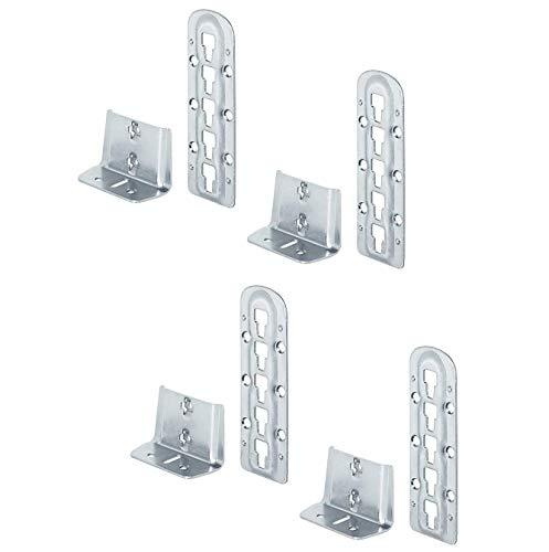 Gedotec Bettverbinder Holz Bettbeschlag Bett-Winkel zum Einhängen - H3580 | Stahl blau verzinkt | Bettsockel-Verbinder höhen-verstellbar | 4 Set - Metall Einhängebeschlag für Lattenrost-Mittelbalken