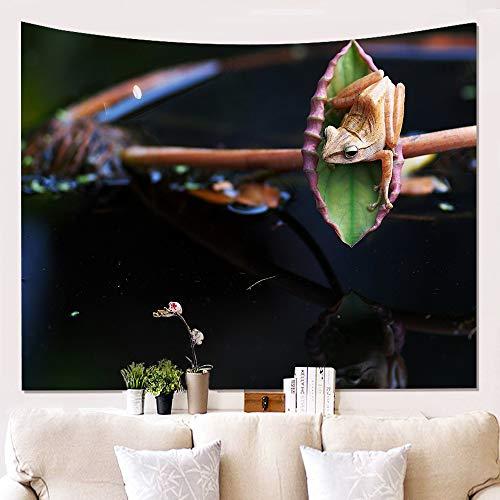 Morbuy Grenouille Tapisserie Murales Hippie Décoration Tenture Couverture Pique-Nique Polyester Nappe Serviette de Plage Yoga Indienne Tapestry (Petit (130 x 150cm), Grenouille sur Feuille)